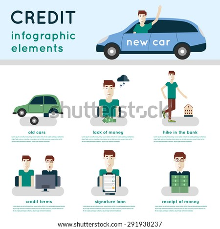 Buying a car on credit. Applying for a loan. The process of obtaining a loan. Credit steps. Info-graphic elements. - stock vector