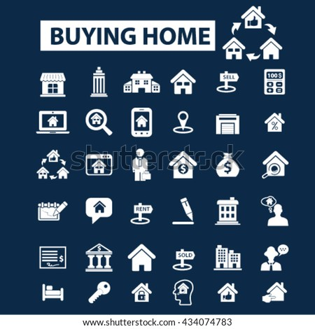 buying home icons  - stock vector