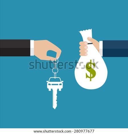 Buying the car. The hand holding the car key and the other hand holding the bag with money. Vector illustration - stock vector