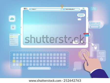 BYOD or Bring Your Own Device. Technology in the hands of businessman. on a blur background. User Interface Vector and Jpg. - stock vector