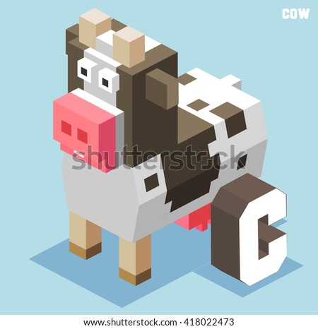 C for cow. Animal Alphabet collection. vector illustration - stock vector