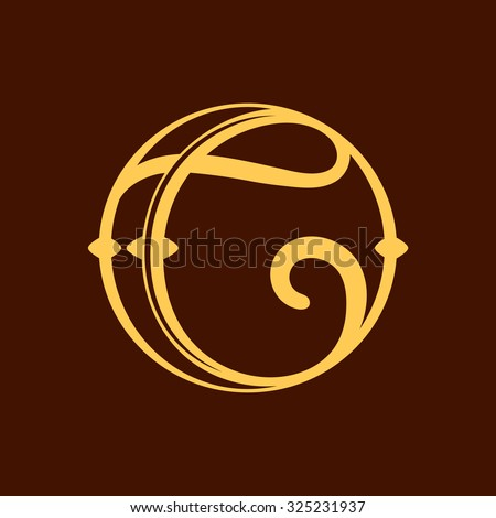 C letter in vintage circle. Vector repair design template elements for your application or corporate identity. - stock vector