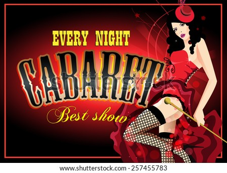 Cabaret dancer in a red corset. Retro vector poster - stock vector