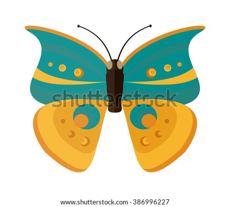 Cabbage butterfly vector. Cabbage butterfly isolated on white background. Cabbage butterfly vector illustration. Colored Cabbage butterfly isolated on white background. - stock vector