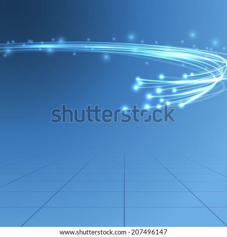 Cable bandwidth flaring electric background illustrating fiber optics bandwidth traffic line over blue background. Vector illustration - stock vector
