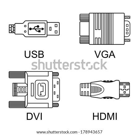 Cable connectors set, vector illustration - stock vector