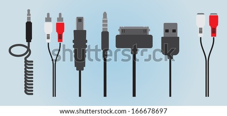Cable Wire Computer - stock vector