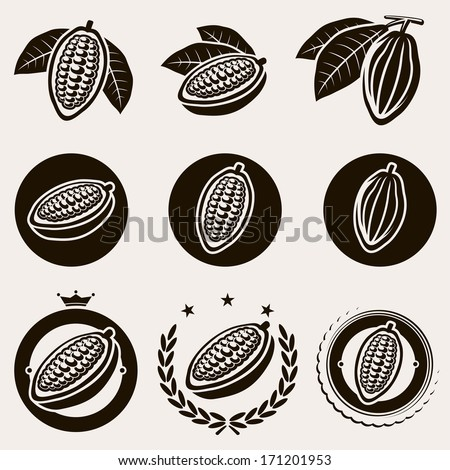 Cacao beans label and icons set. Vector  - stock vector