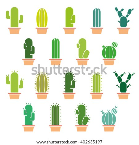 Cactus abstract collection in vector illustration - stock vector