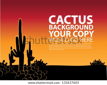 Cactus Background. EPS 8 vector, grouped for easy editing. No open shapes or paths. - stock vector