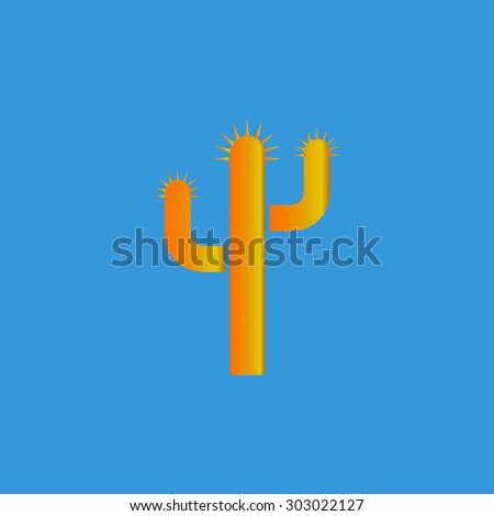 Cactus. Flat web icon or sign isolated on grey background. Collection modern trend concept design style vector illustration symbol - stock vector
