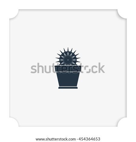 Cactus icon. Flat pot illustration. - stock vector