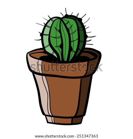 cactus in pot. A children's sketch. Color image - stock vector