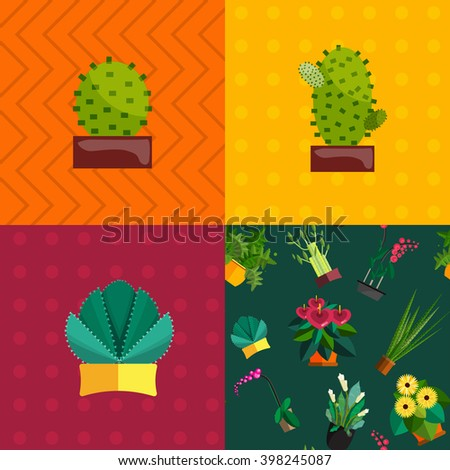 Cactus set.Flat style.Cactus Vector collection of blooming succulents.Modern Green plant icons,desert nature,floral exotic,tropical flower,Home cactus garden,wild botany illustration.Vector simple set - stock vector