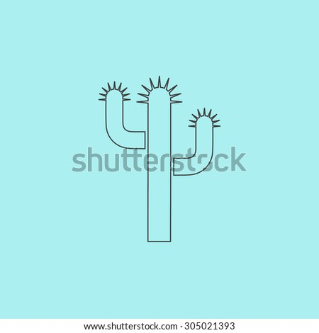 Cactus. Simple outline flat vector icon isolated on blue background - stock vector