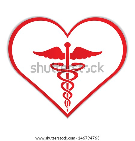 Caduceus in heart medical symbol .vector - stock vector