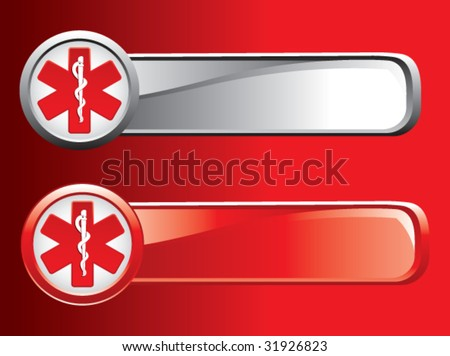 caduceus medical symbol on colored banners - stock vector