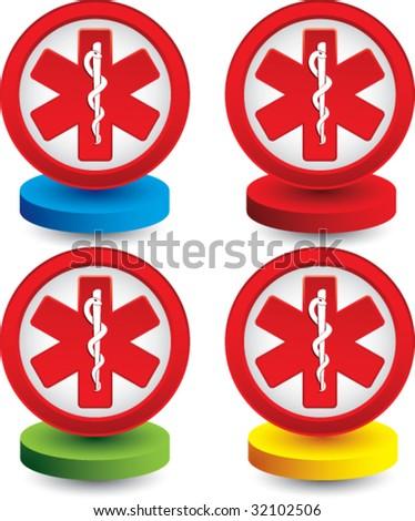 caduceus medical symbol on colored discs - stock vector