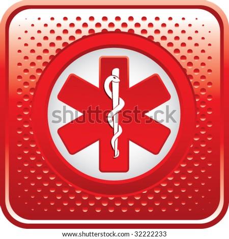 caduceus medical symbol on red halftone web button - stock vector