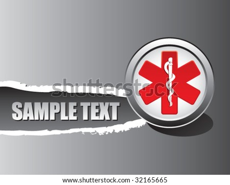 caduceus medical symbol on ripped banner - stock vector