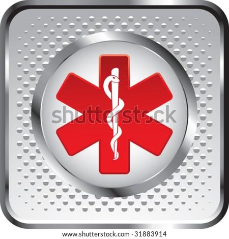 caduceus medical symbol on white halftone web button - stock vector