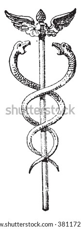 Caduceus, vintage engraved illustration. Dictionary of words and things - Larive and Fleury - 1895.  - stock vector