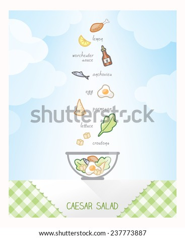Caesar salad recipe with ingredients falling in a bowl on a checked tablecloth, sky on background - stock vector