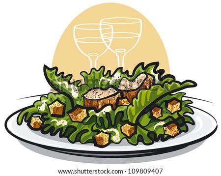 Caesar Salad Drawing Caesar Salad With Chicken