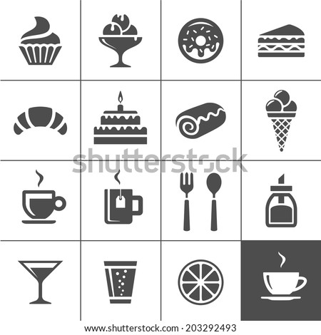 Cafe and confectionery icon set. Sweet baked goods, desserts and coffee. Simplus series vector icons - stock vector