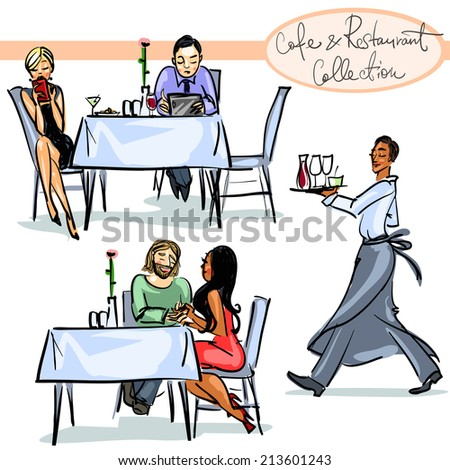 cafe and Restaurant Collection (new edition) - hand drawn scenes . Set 3 - stock vector