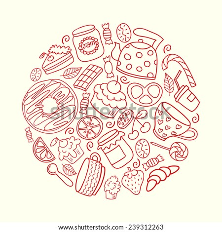 Cafe concept made in vector. Cute poster design. Hand drawn illustration. Donut, teapot, cupcake, jam and other sweets. - stock vector