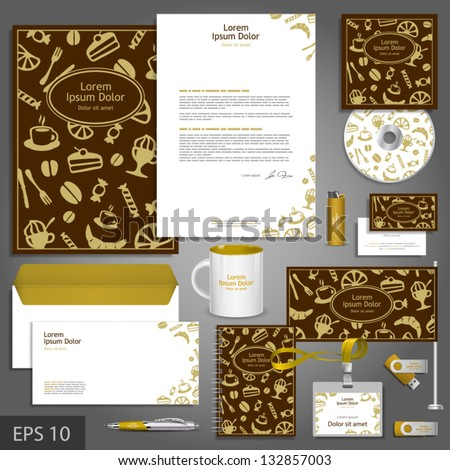 Cafe corporate identity template with food elements. Vector company style for brandbook and guideline. EPS 10 - stock vector
