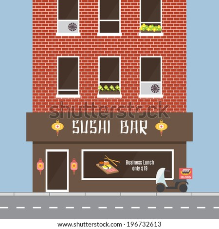 Cafe facade, building exterior. Sushi bar, restaurant in oriental style. Road and delivery motorbike. Flat design vector illustration. - stock vector