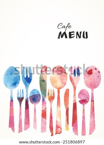 Cafe Menu Card Design template. Watercolor flatware background. Vector Illustration.  - stock vector