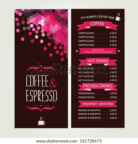 Cafe menu, template design. Vector illustration. - stock vector