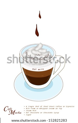Cafe Mocha or Caffe Mocha in A Glass Cup, Cafe Mocha Is Based on Espresso and Hot Milk with Chocolate and Sugar Topped with Whipped Cream.  - stock vector