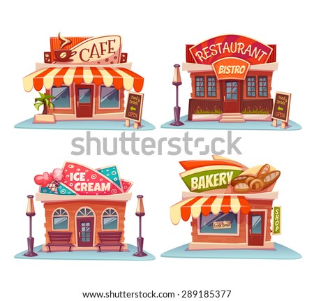 Cafe, restaurant, ice-cream shop and bakery. Vector set. Illustration. - stock vector