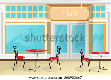 Cafe Street Coffee Shop Chairs Table Vector Illustration - stock vector