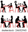 Cafe. Vector silhouettes - stock vector