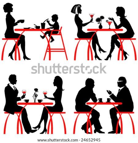 Cafe. Vector silhouettes - stock vector