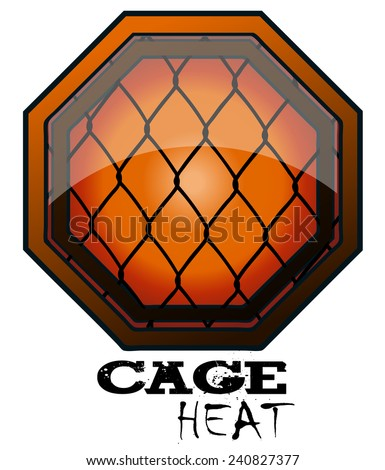 Cage Heat MMA Octagon Sign, Vector Illustration isolated on White Background.  - stock vector