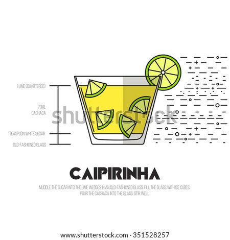 Caipirinha - Thin Flat Line Style Cocktail Recipe. Simple instructions on how to prepare the popular drink. Suitable for wall of your bar or on the web.  - stock vector