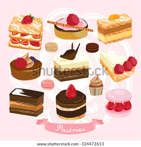 Cake and Pastry Vector Design Illustration - stock vector