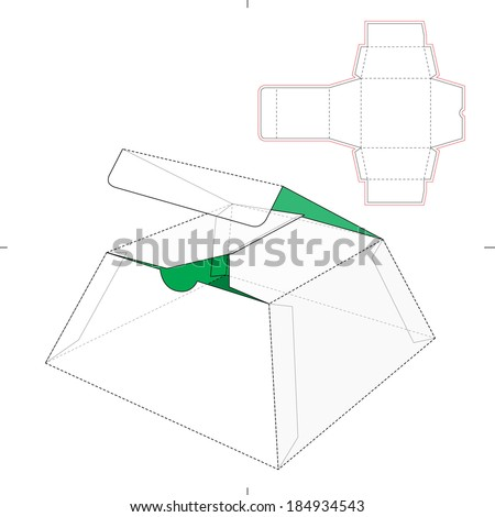 Cake Box with Die-cut Pattern - stock vector