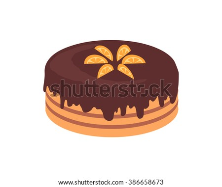 Cake chocolate isolated design flat. Cake and birthday cake, chocolate cake, dessert and cookies, chocolate and food, sweet cake birthday, delicious cake cream, tasty cake, pastry cake illustration - stock vector