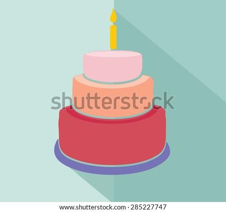Cake. Flat vector - stock vector