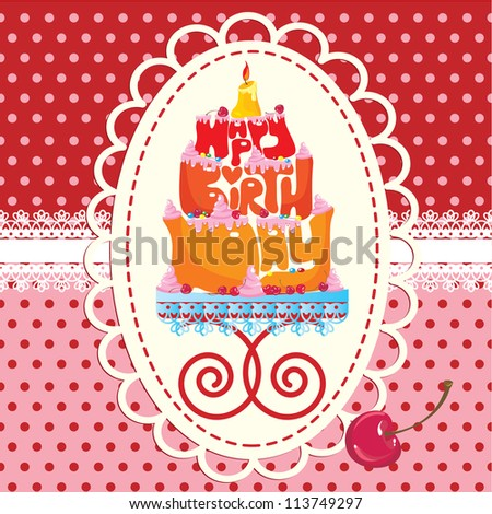 Cake Formed From Happy Birthday Text - card - stock vector