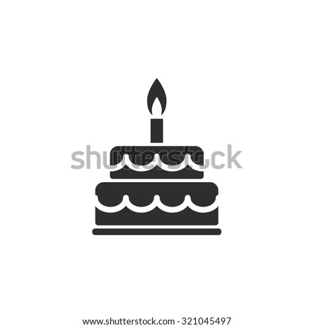 Cake  icon  on white background. Vector illustration. - stock vector