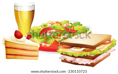 Cake, salad and beer lunch set - stock vector
