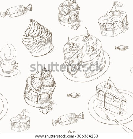 Cake seamless pattern. Cakes, candy and other sweets. Hand drawn illustration of cake. Piece of cake. Bakery desserts wallpaper. Cakes with cream and berries. Celebration cake design. - stock vector